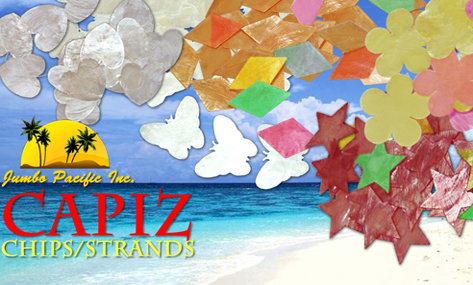 Collection of capiz chips and strands in a variety of colors and designs, sizes, with hole or without hole.