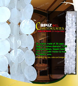 Capiz chips natural white round design in square wood base.
