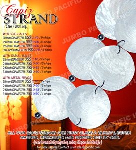 1 feet/30cm long strands Capiz chips natural white with metal ball or rings. Available in any colors and shapes.