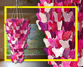 Colored Butterfly design chips for capiz chandelier