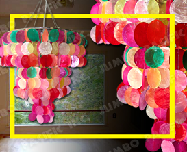 Colored Round Capiz Chips design for capiz chandelier