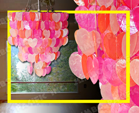 Colored Heart Capiz Chips design for capiz chandelier